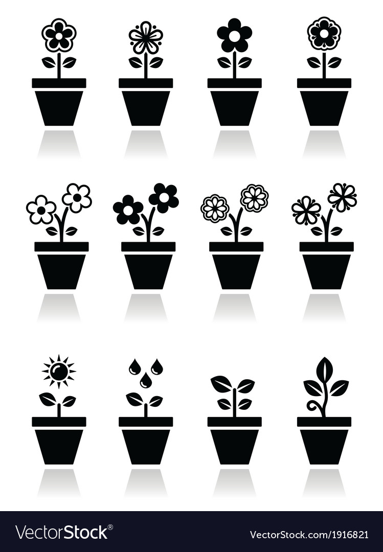 Flower plant in pot icons set vector | Price: 1 Credit (USD $1)