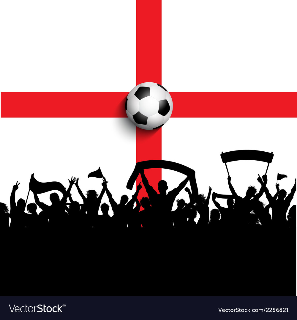 Football supporters on england flag vector | Price: 1 Credit (USD $1)