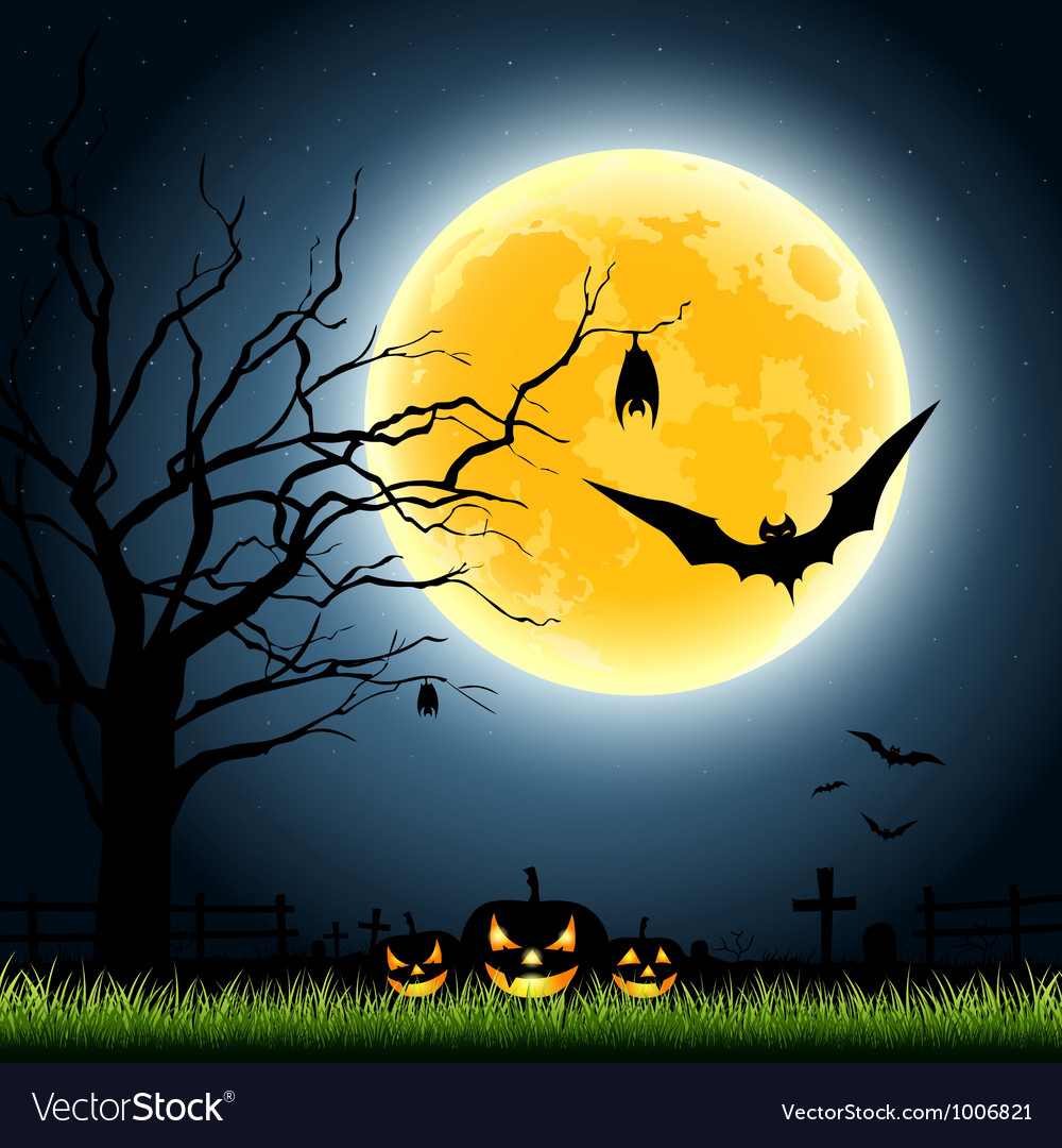 Halloween full moon party at night vector