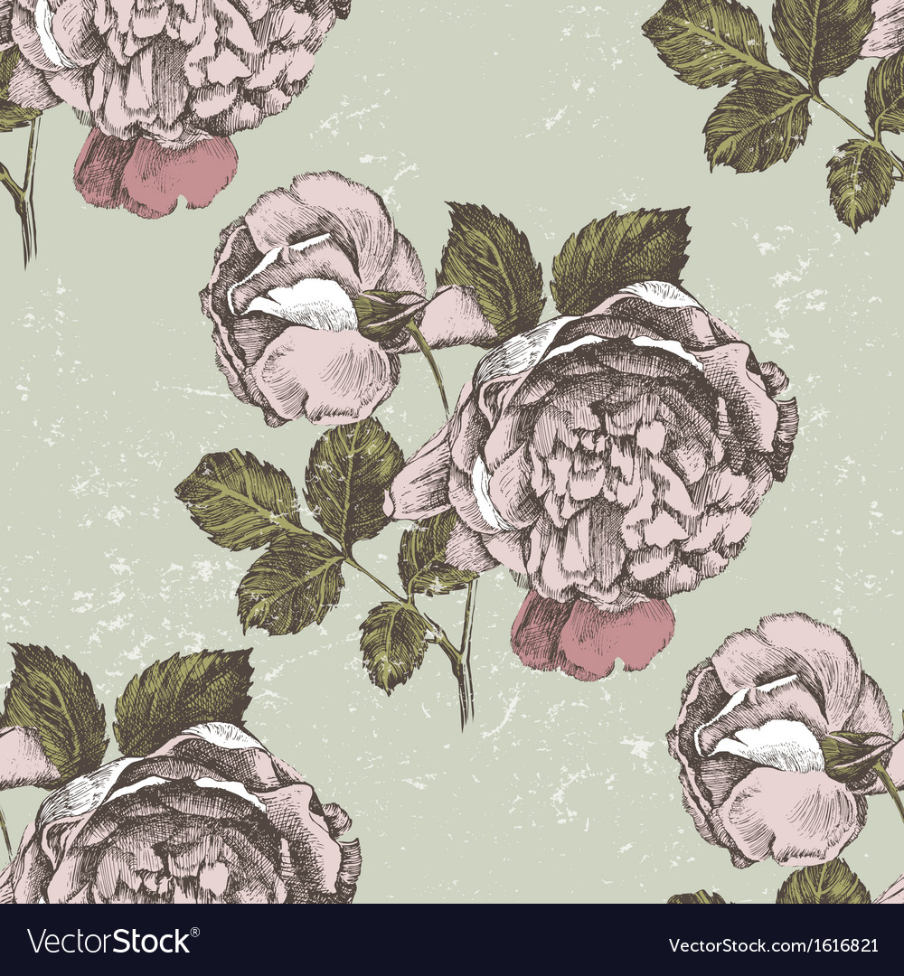 Old style roses seamless vector | Price: 1 Credit (USD $1)