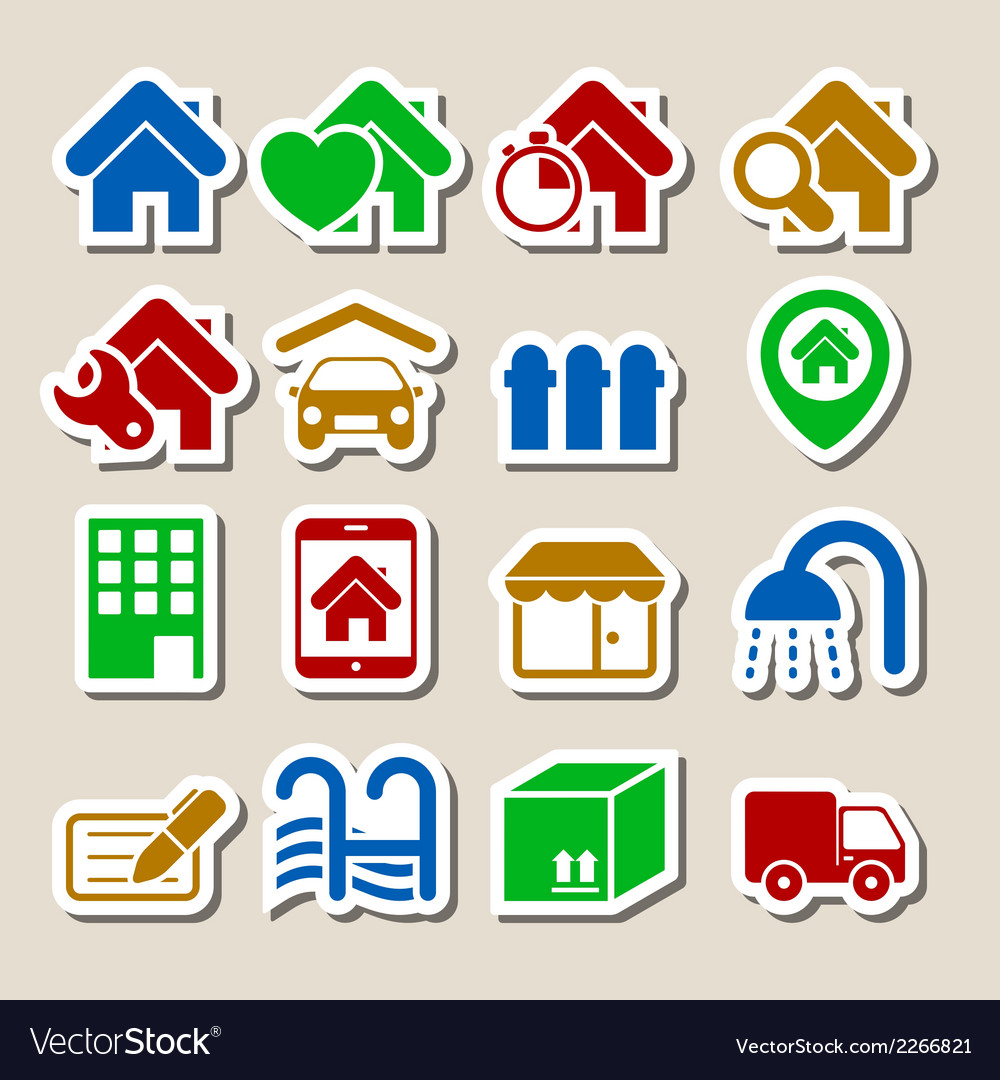 Real estate icons as labels vector | Price: 1 Credit (USD $1)