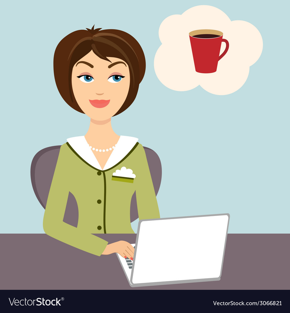 Secretary with mug of hot coffee vector | Price: 1 Credit (USD $1)