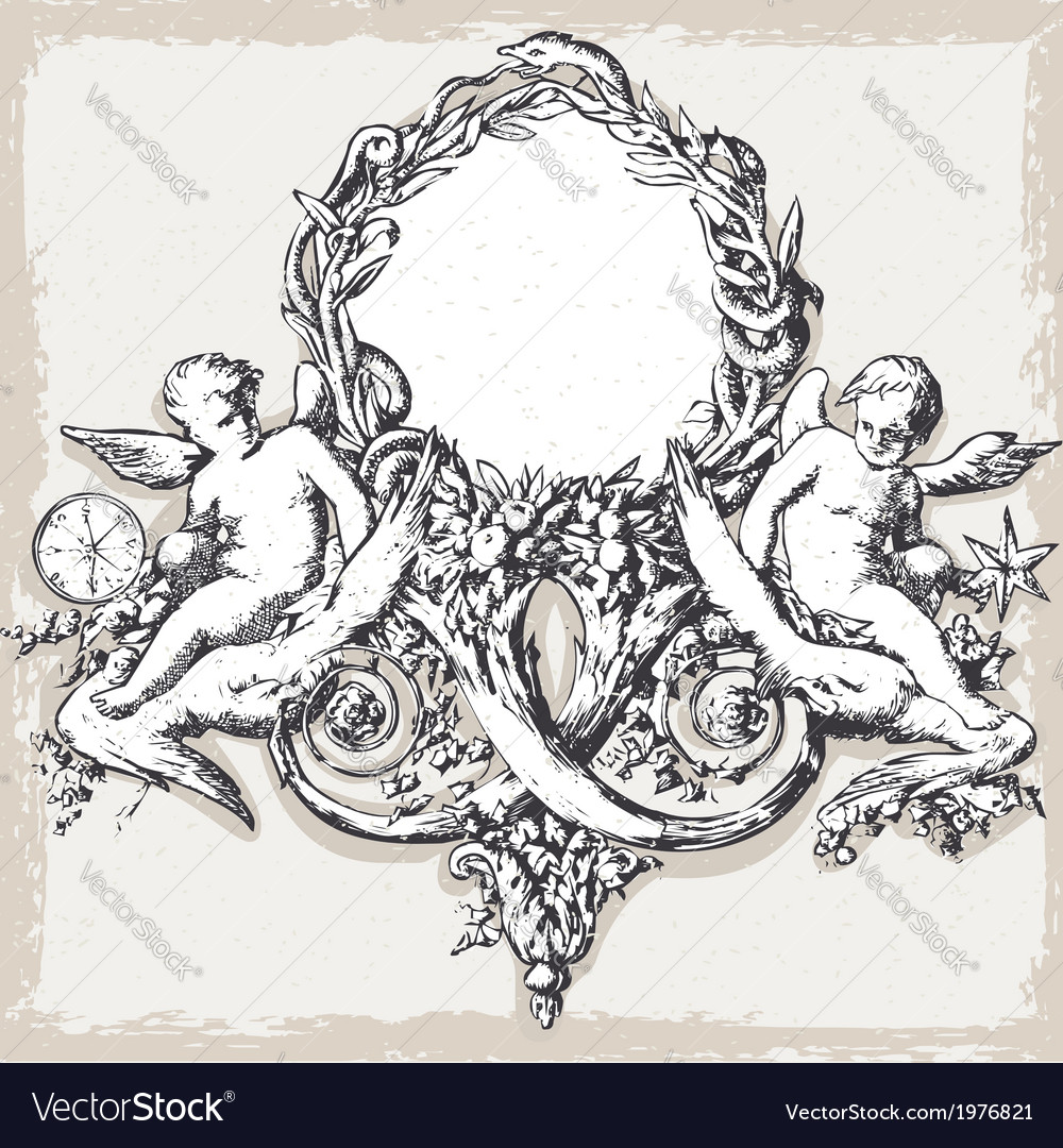 Vintage floral frame with angels vector | Price: 1 Credit (USD $1)