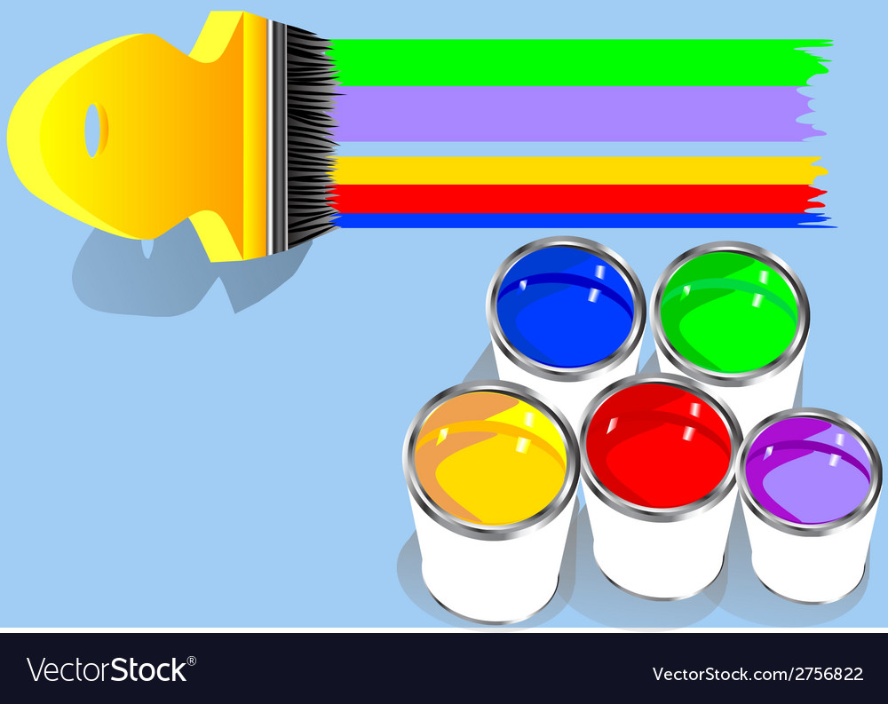 Colored paints in blue background vector | Price: 1 Credit (USD $1)