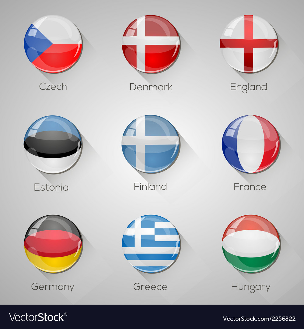 European flags set glossy buttons vector | Price: 1 Credit (USD $1)