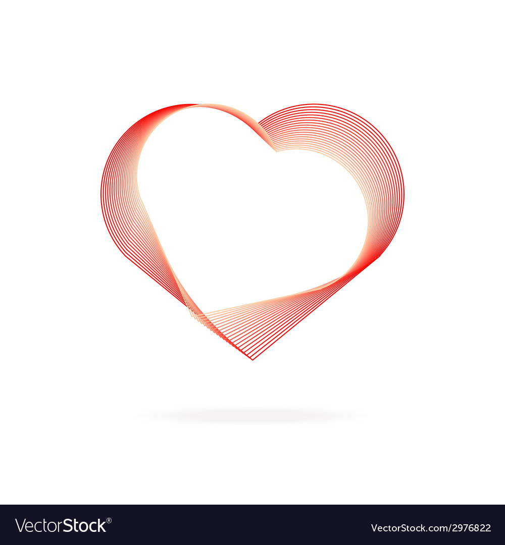 Heart red lines valentines day vector | Price: 1 Credit (USD $1)