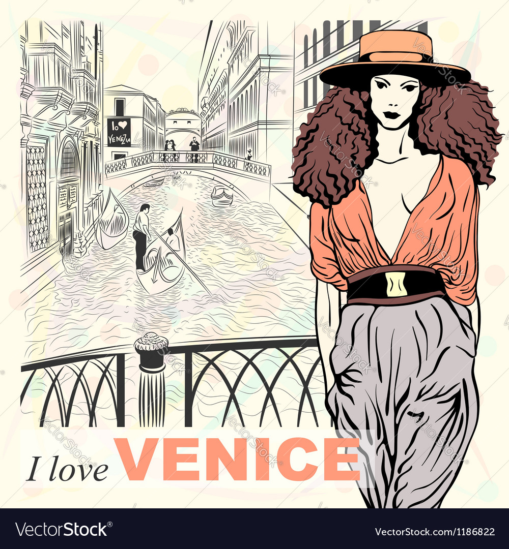 Lovely fashion girl in orange hat in venice vector | Price: 3 Credit (USD $3)