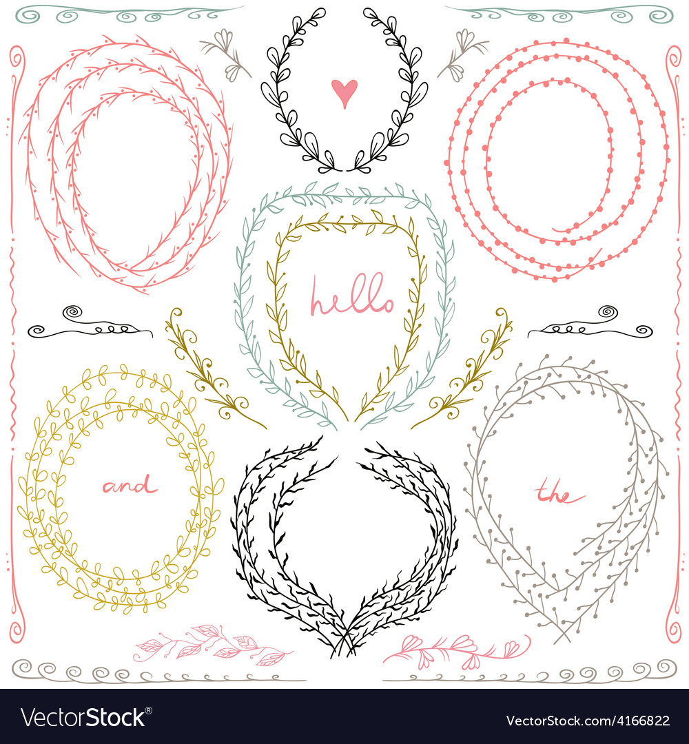 Set of hand drawn floral frame and lines border in vector | Price: 1 Credit (USD $1)
