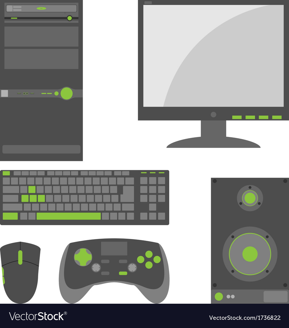 Stylish simple external computer parts vector | Price: 1 Credit (USD $1)