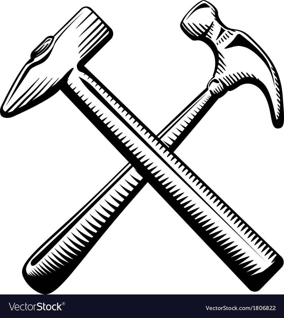 Two crossed hammers symbol vector | Price: 1 Credit (USD $1)