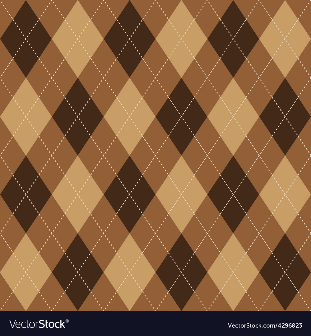 Argyle pattern brown rhombus seamless texture vector | Price: 1 Credit (USD $1)
