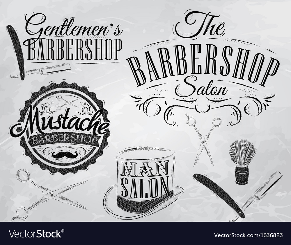 Barbershop set chalk coal vector | Price: 1 Credit (USD $1)
