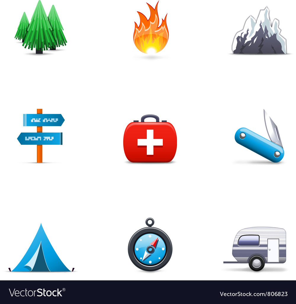 Camping icons vector | Price: 3 Credit (USD $3)