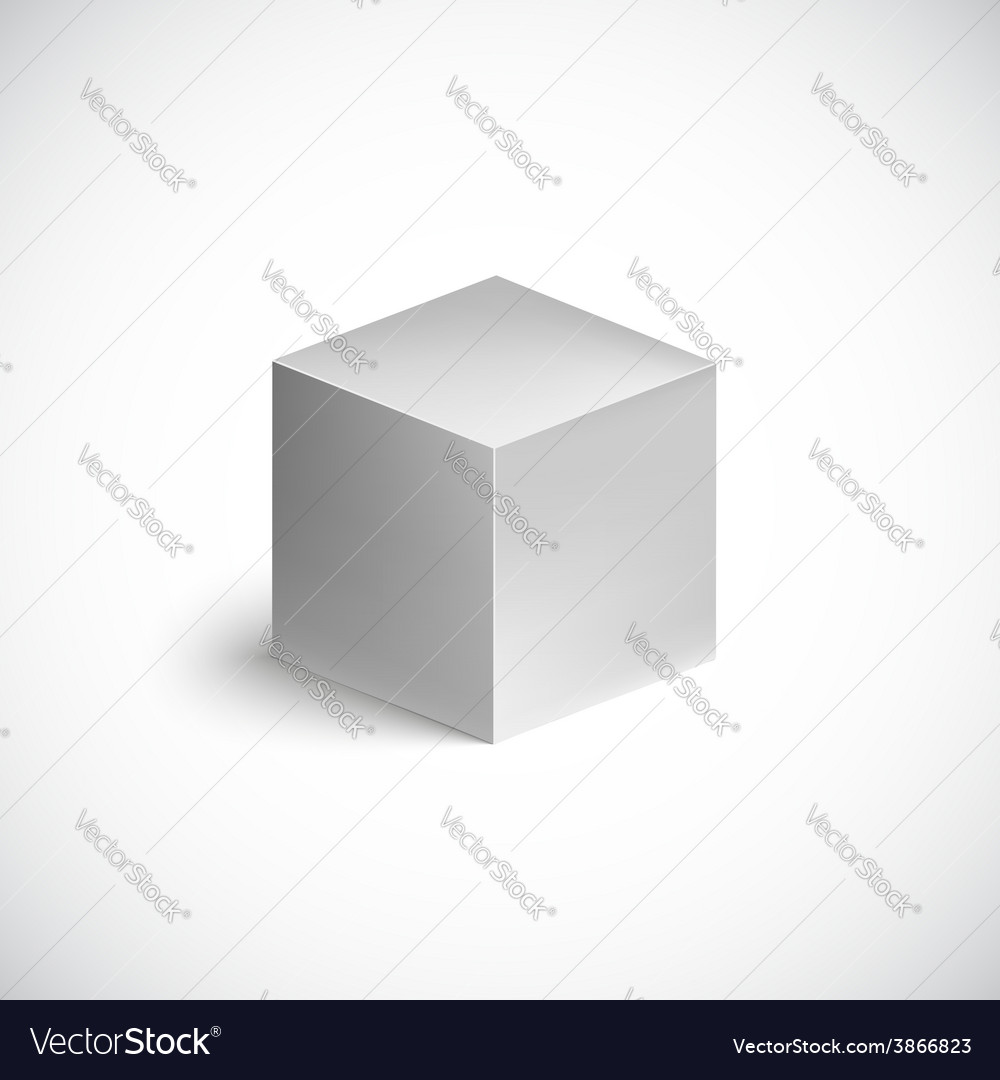 Grey cube on white background vector | Price: 1 Credit (USD $1)