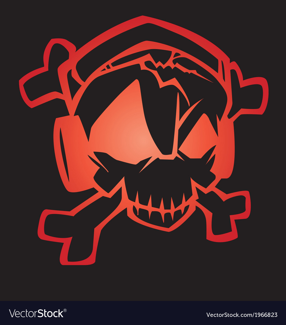Human skull with tribal sound far vector