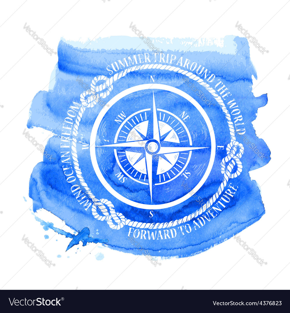 Nautical emblem with compass vector | Price: 1 Credit (USD $1)