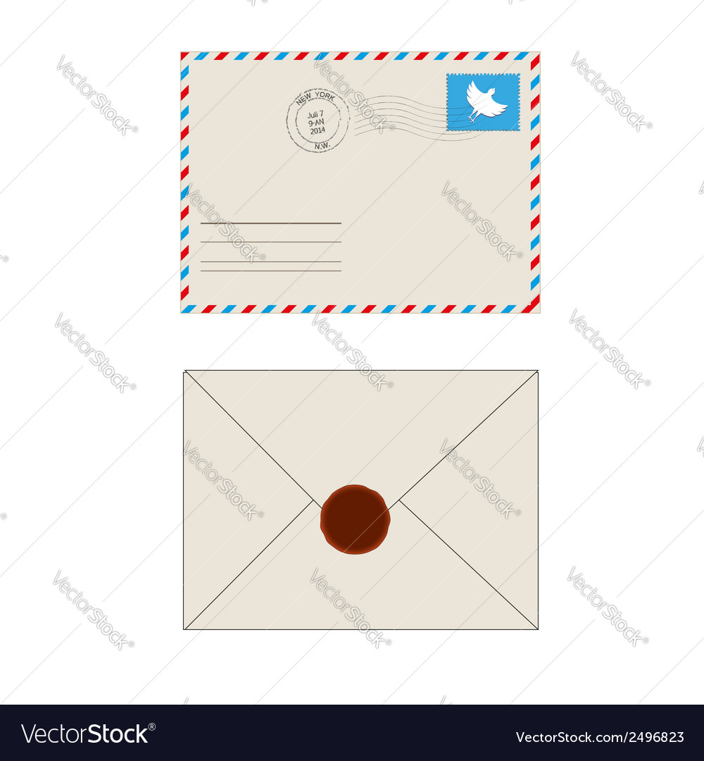 Old postage envelope with stamps isolated vector | Price: 1 Credit (USD $1)