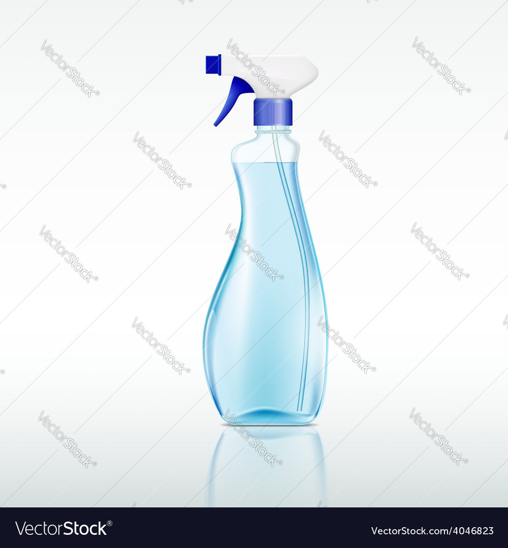 Plastic spray bottle with cleaning liquid vector
