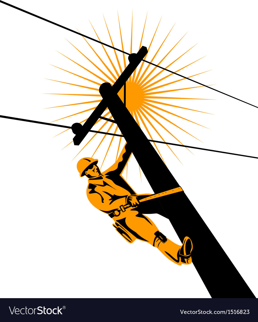 Power lineman electrician vector | Price: 1 Credit (USD $1)