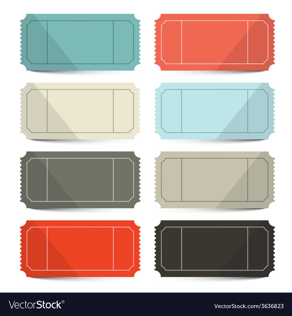 Retro empty tickets set isolated on white vector | Price: 1 Credit (USD $1)