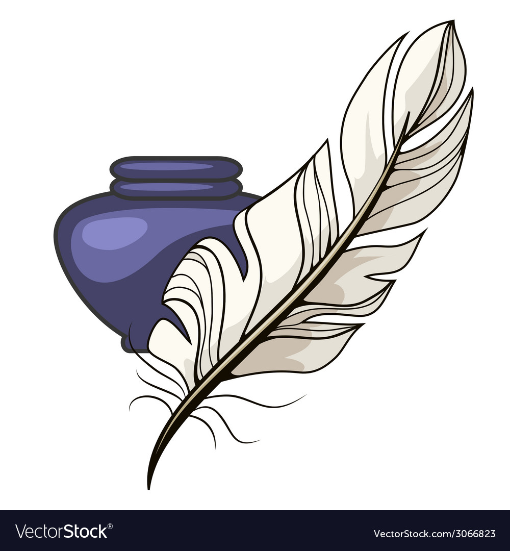 Vintage inkwell and feather vector | Price: 1 Credit (USD $1)