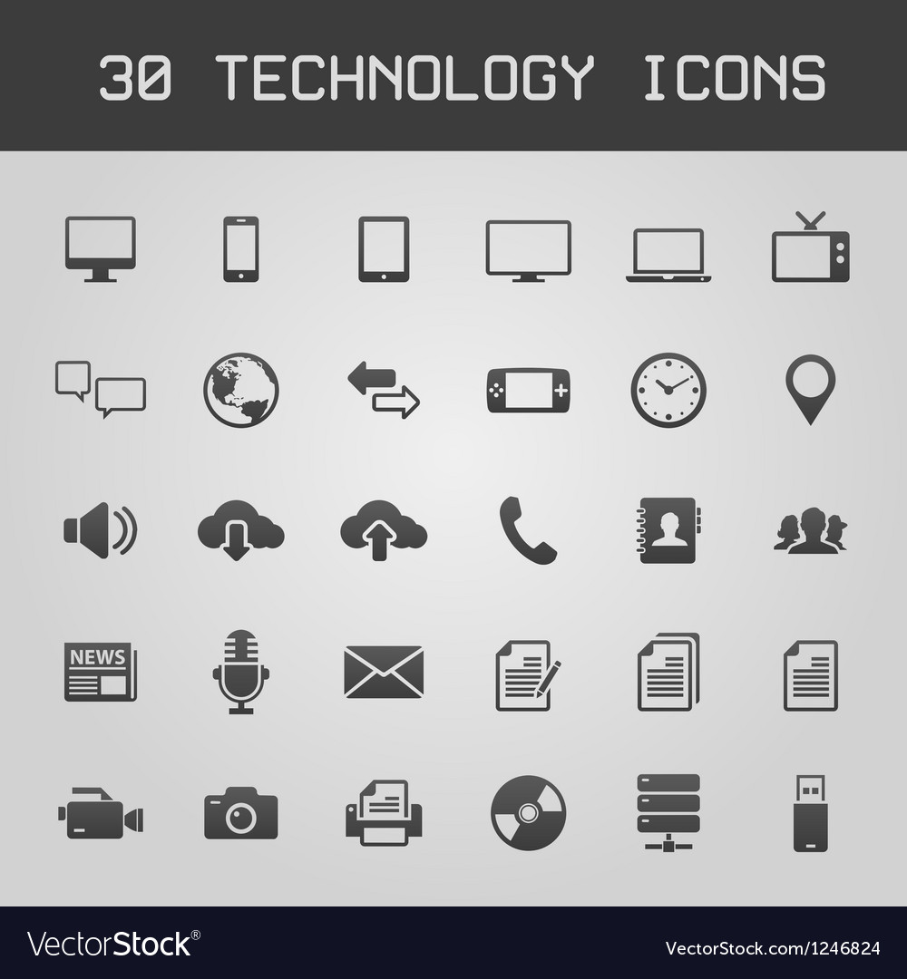 30 dark technology icons vector | Price: 1 Credit (USD $1)