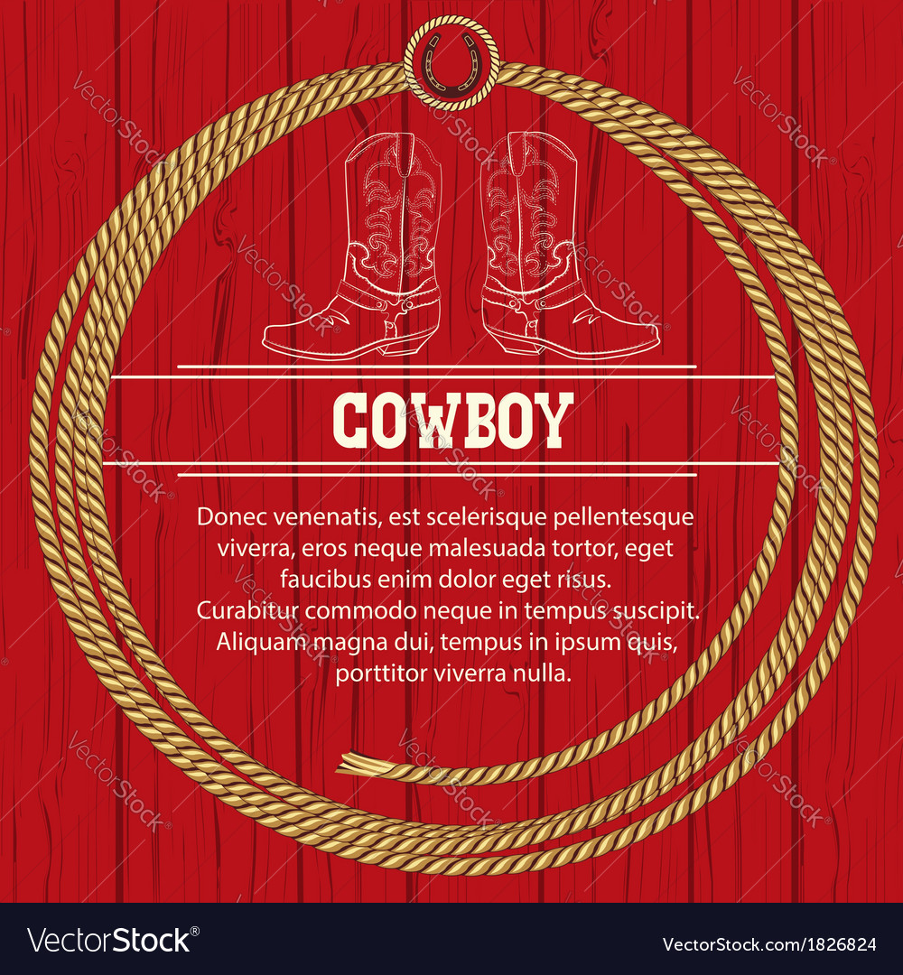 American background with cowboy boots and rope vector | Price: 1 Credit (USD $1)