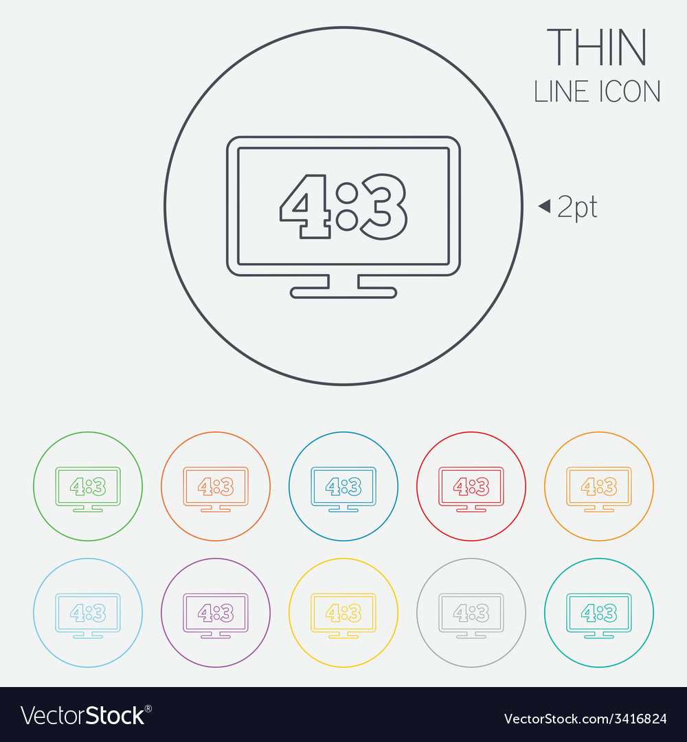 Aspect ratio 43 widescreen tv monitor symbol vector | Price: 1 Credit (USD $1)