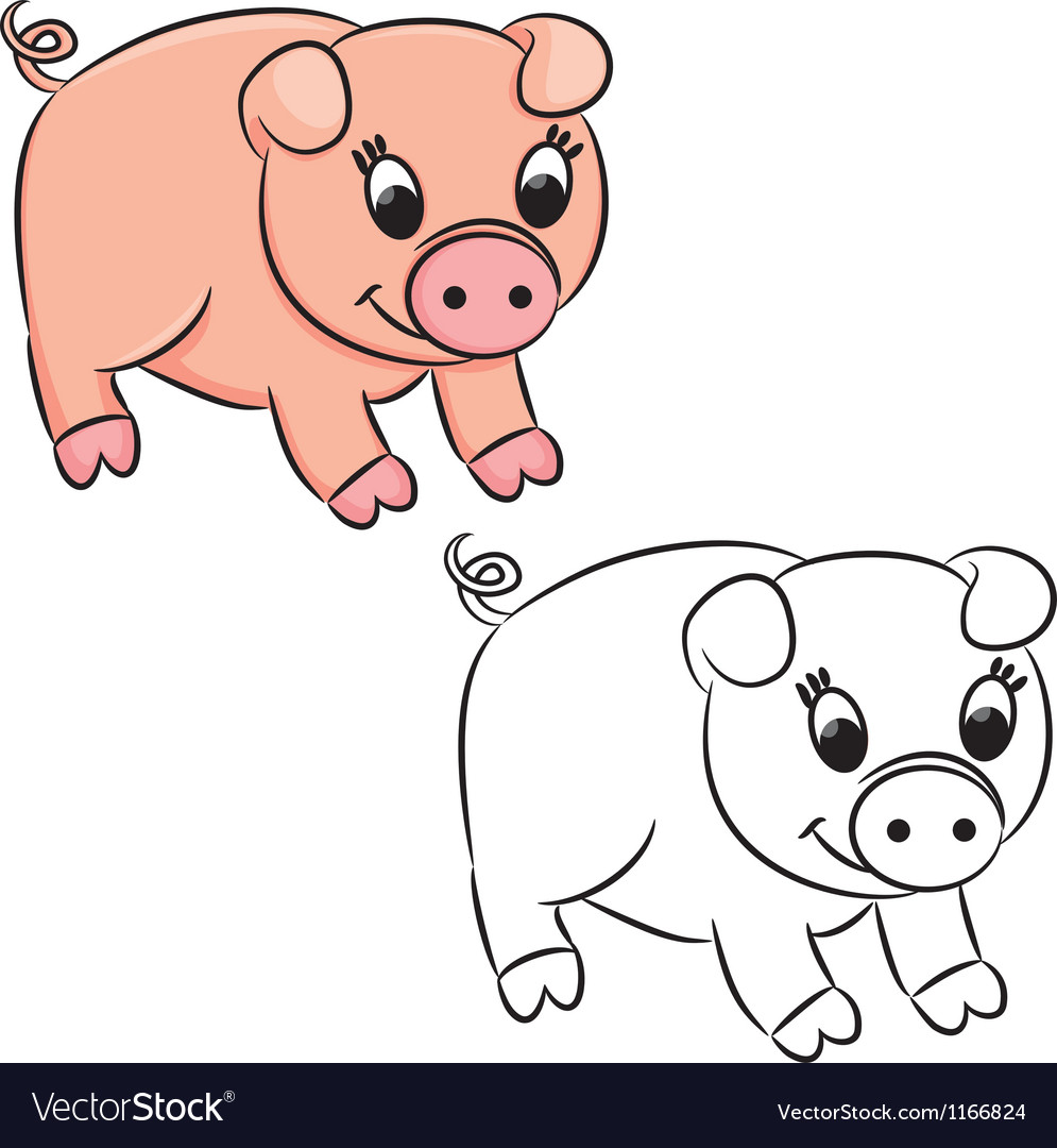 Cartoon pig vector | Price: 1 Credit (USD $1)