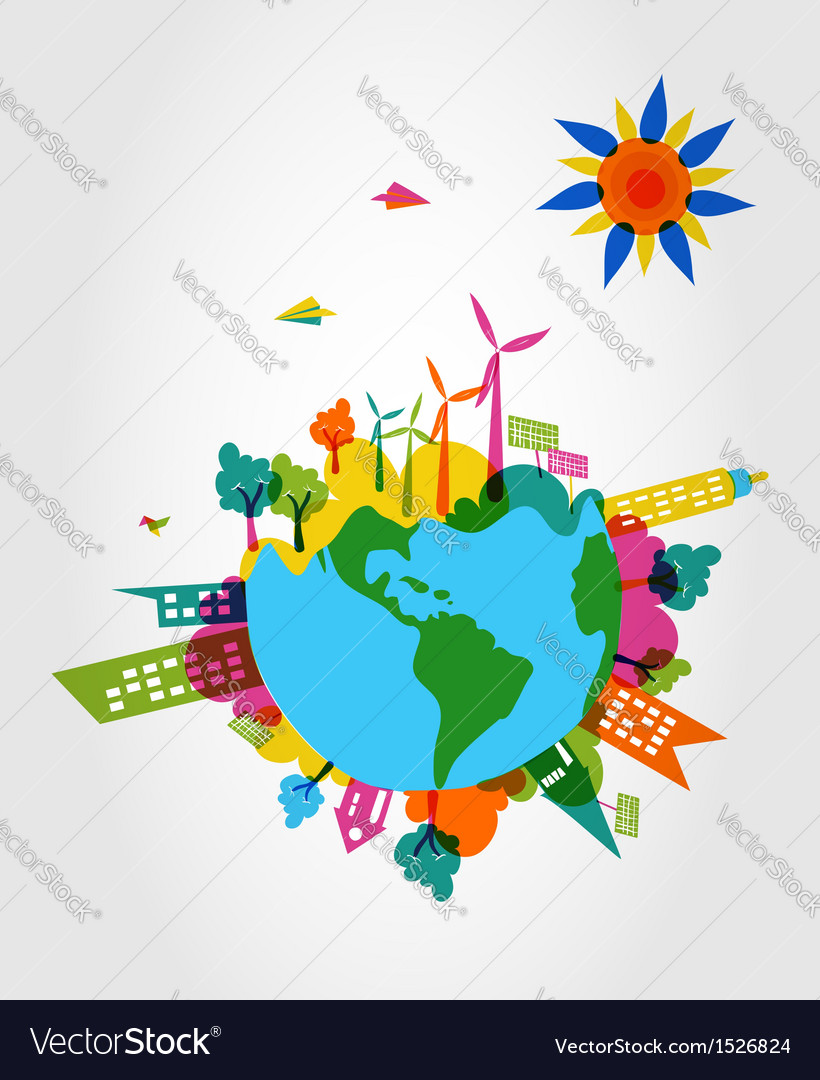 Colorful world eco friendly concept vector | Price: 1 Credit (USD $1)