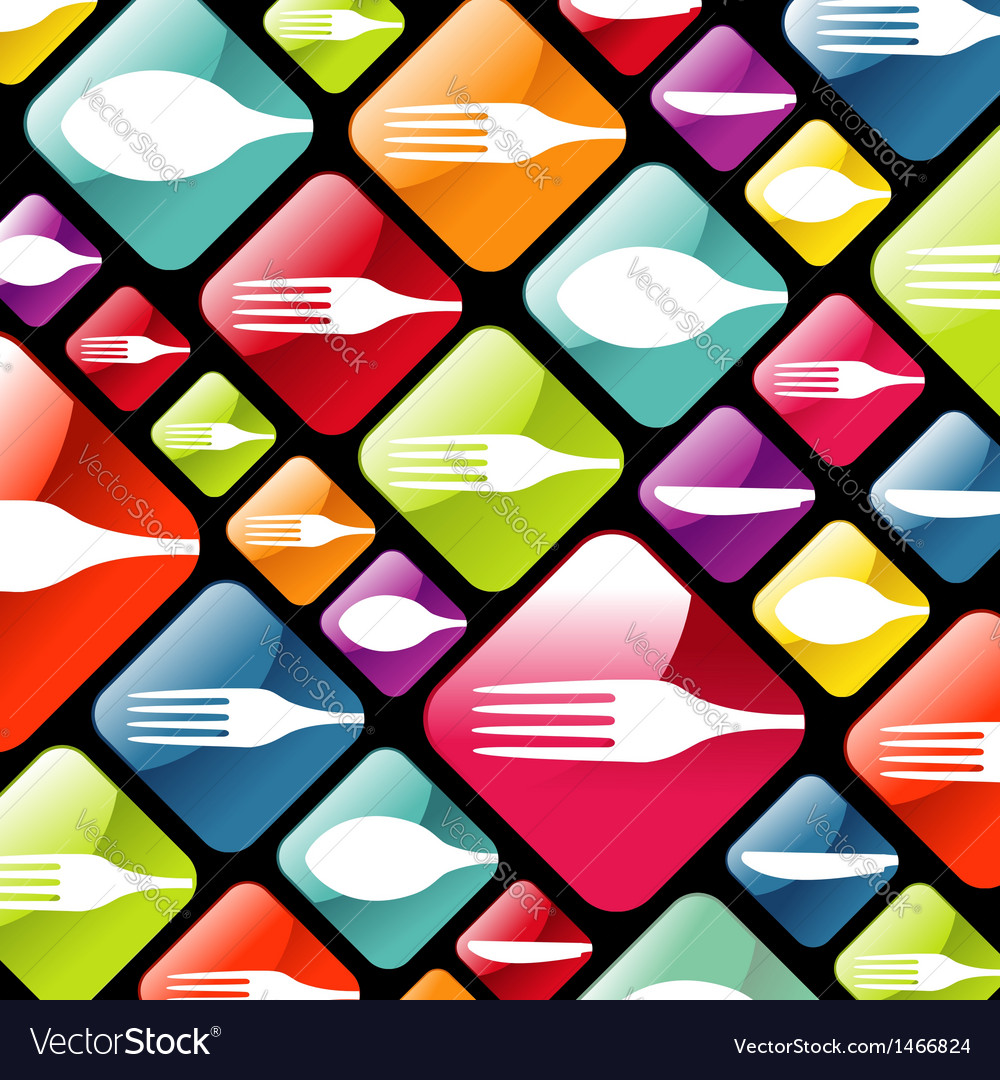 Dishware gourmet icons background vector | Price: 1 Credit (USD $1)