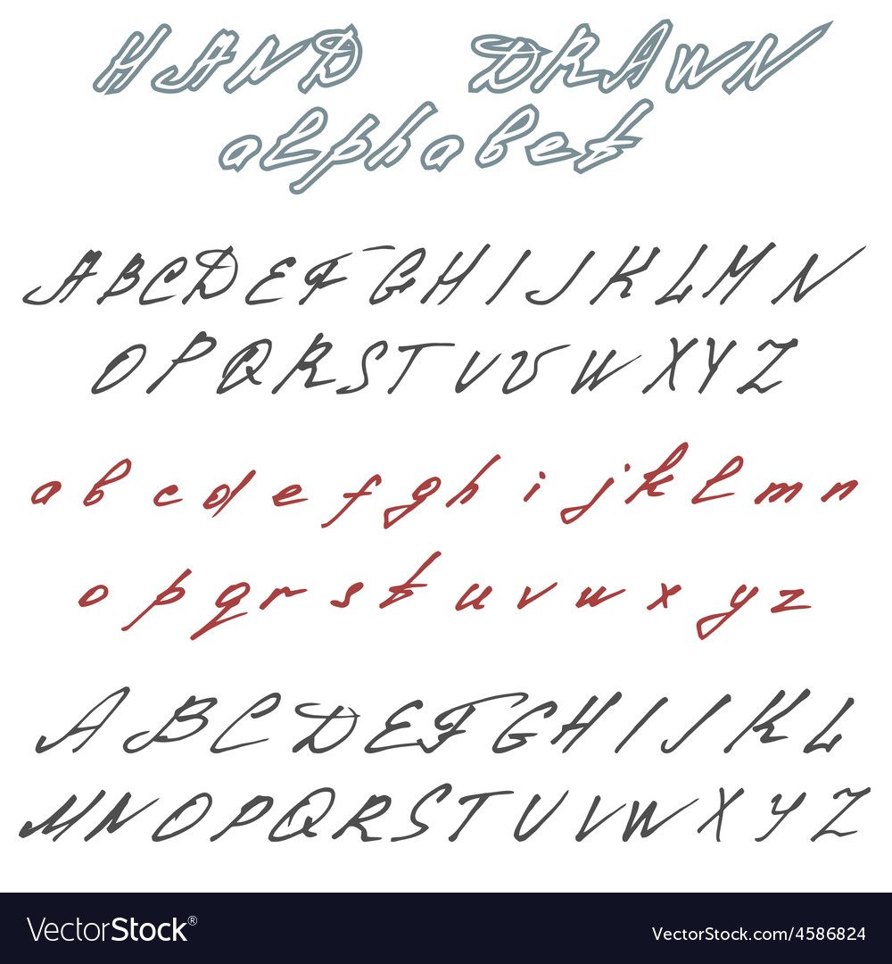 Hand drawn font handwriting doodle alphabet vector | Price: 1 Credit (USD $1)