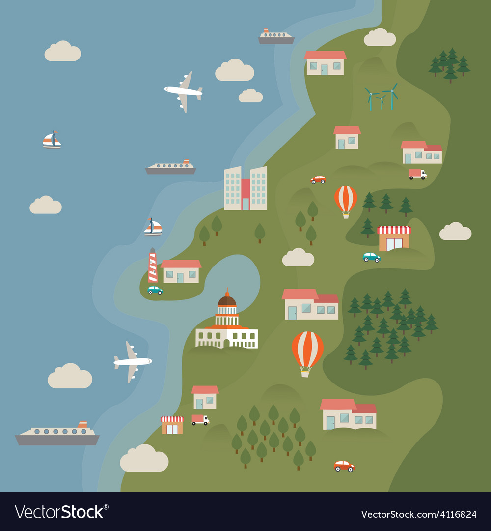 Land sea vector | Price: 1 Credit (USD $1)