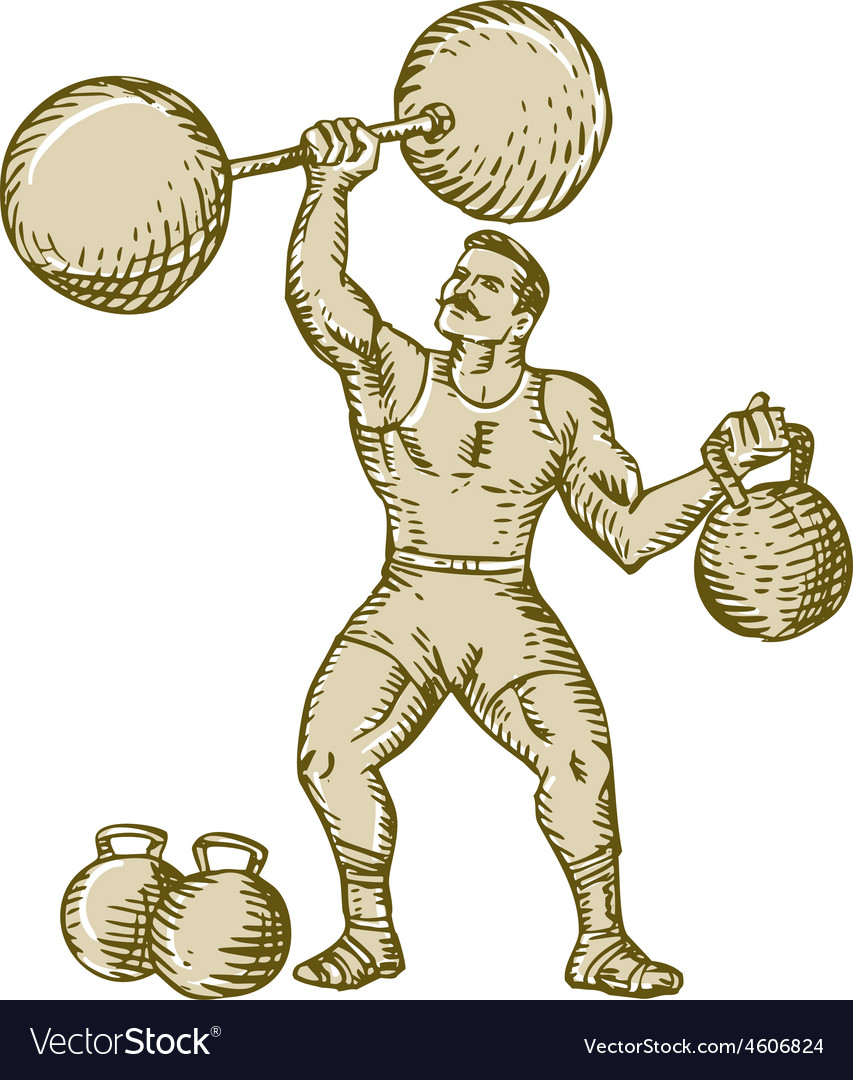 Strongman lifting barbell kettlebell etching vector | Price: 1 Credit (USD $1)