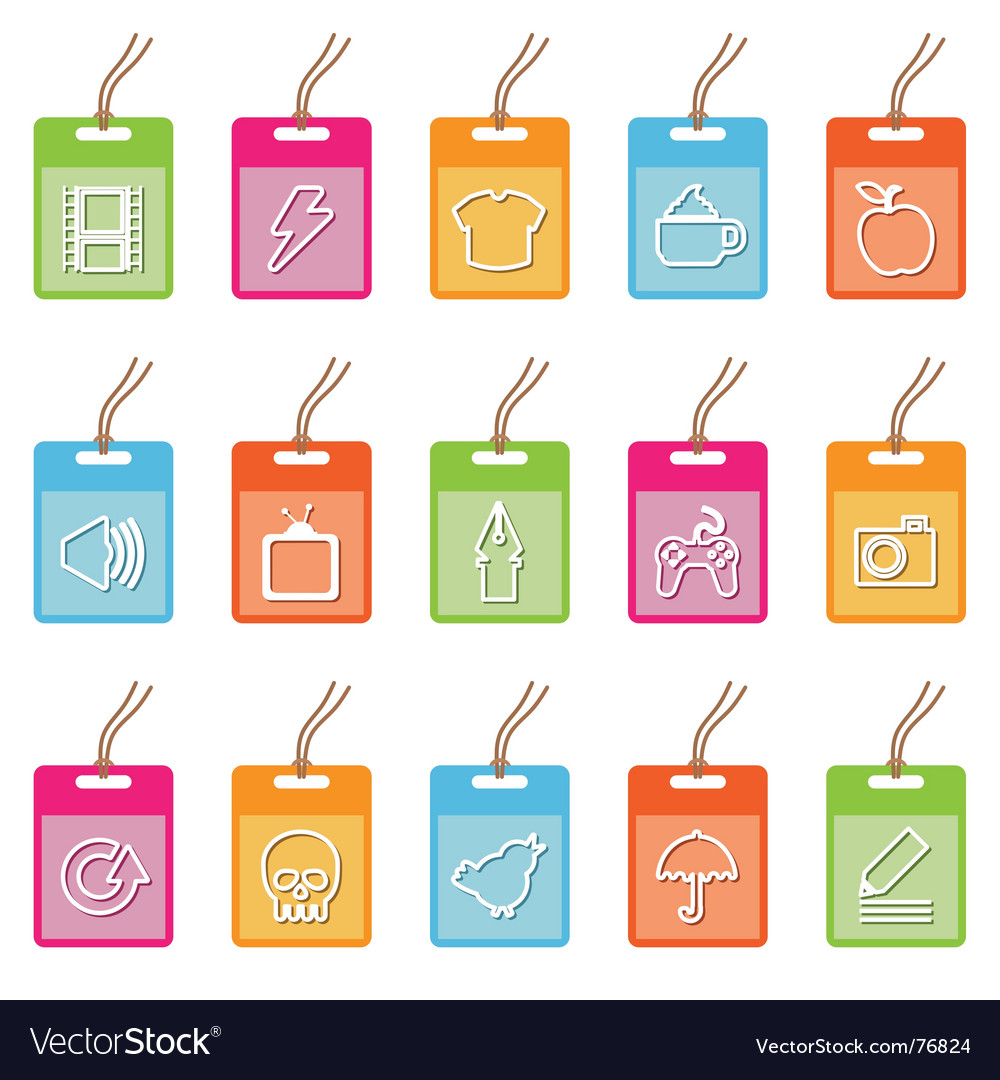 Tag icons on white vector | Price: 1 Credit (USD $1)
