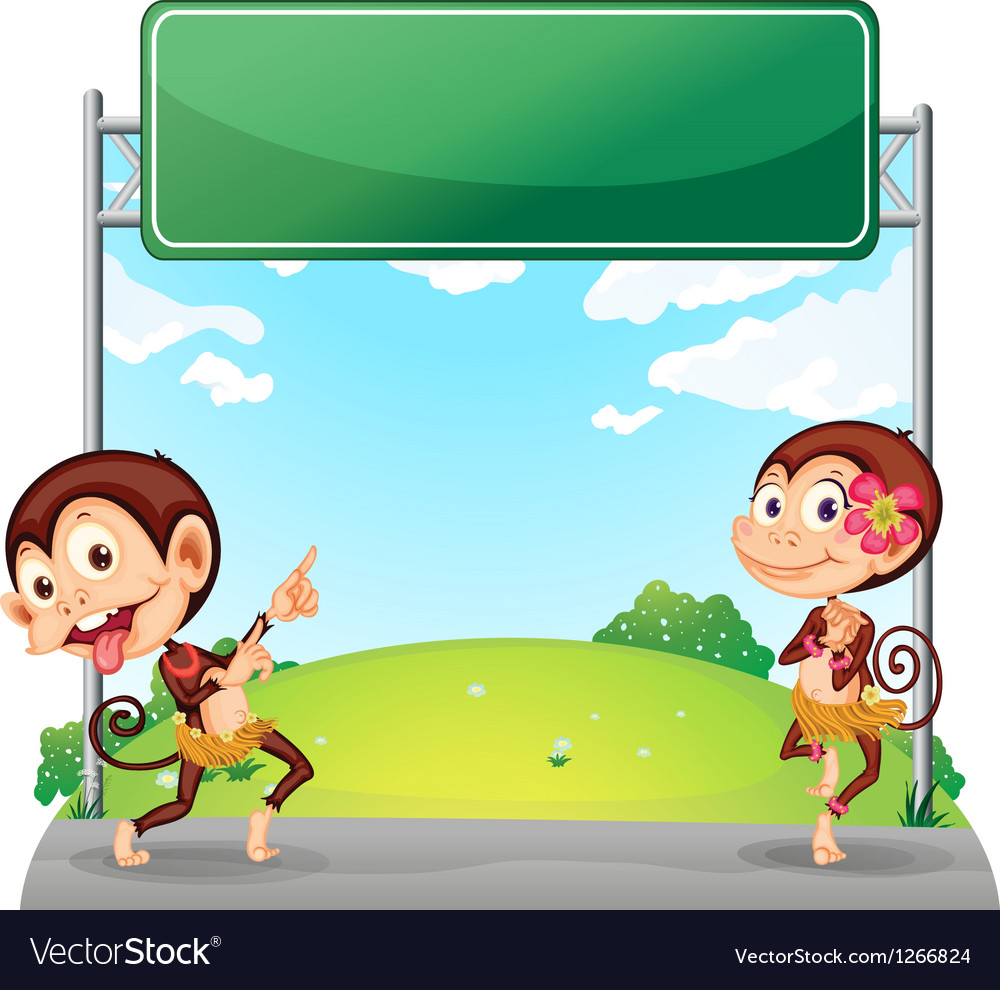 Two playful monkeys in front of the empty green vector | Price: 1 Credit (USD $1)