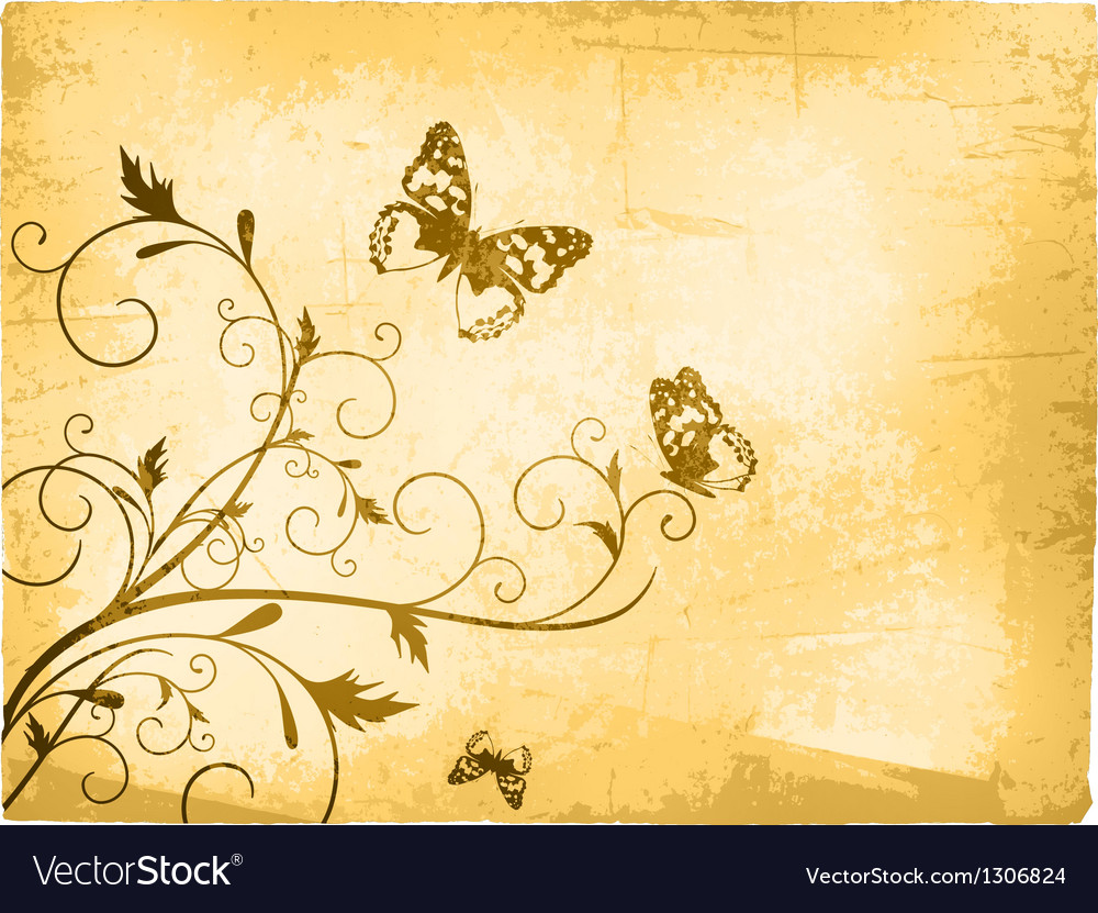 Vintage butterfly background vector | Price: 1 Credit (USD $1)