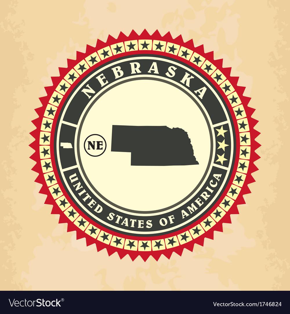 Vintage label-sticker cards of nebraska vector | Price: 1 Credit (USD $1)