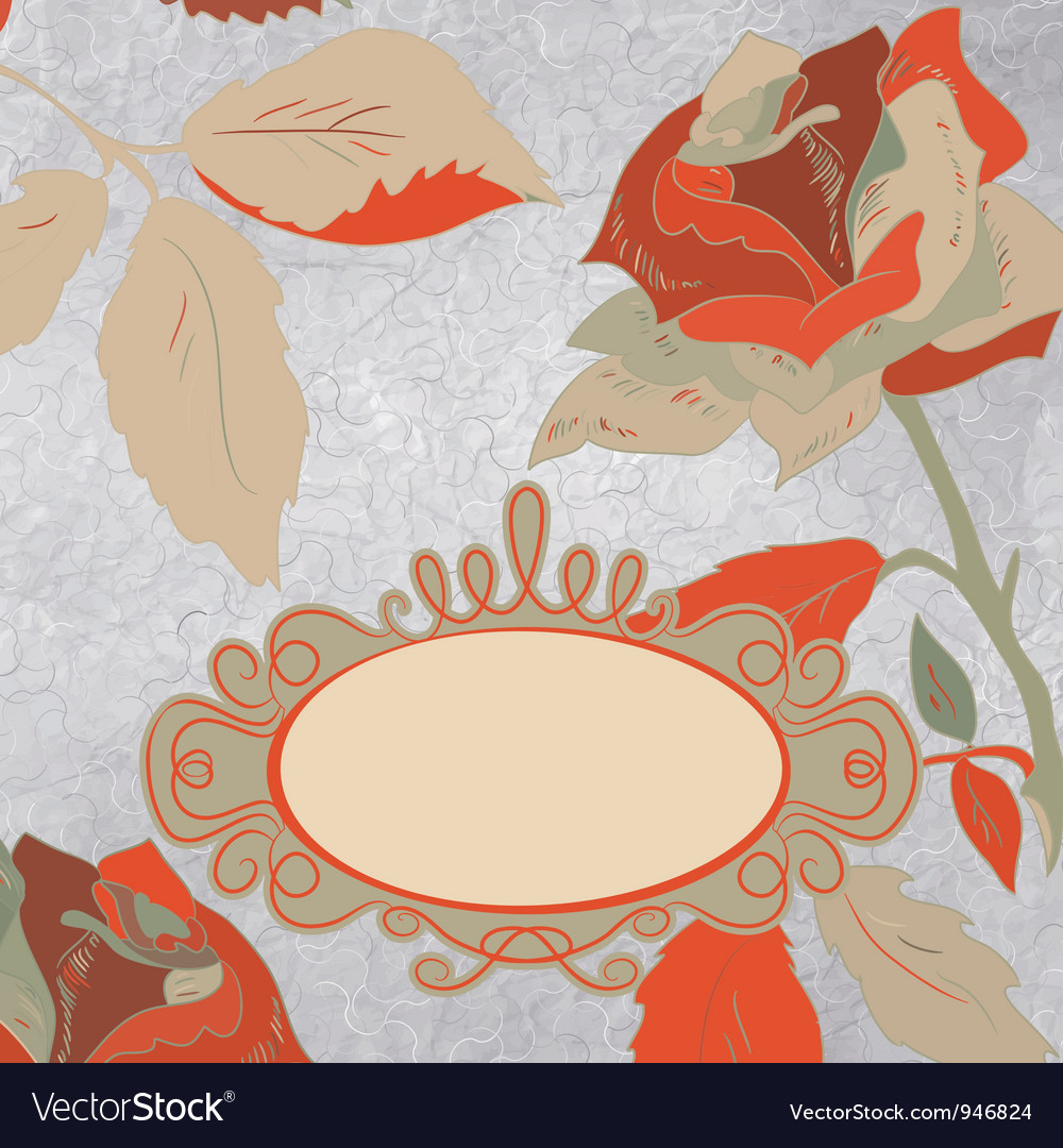 Vintage rose floral card vector | Price: 1 Credit (USD $1)