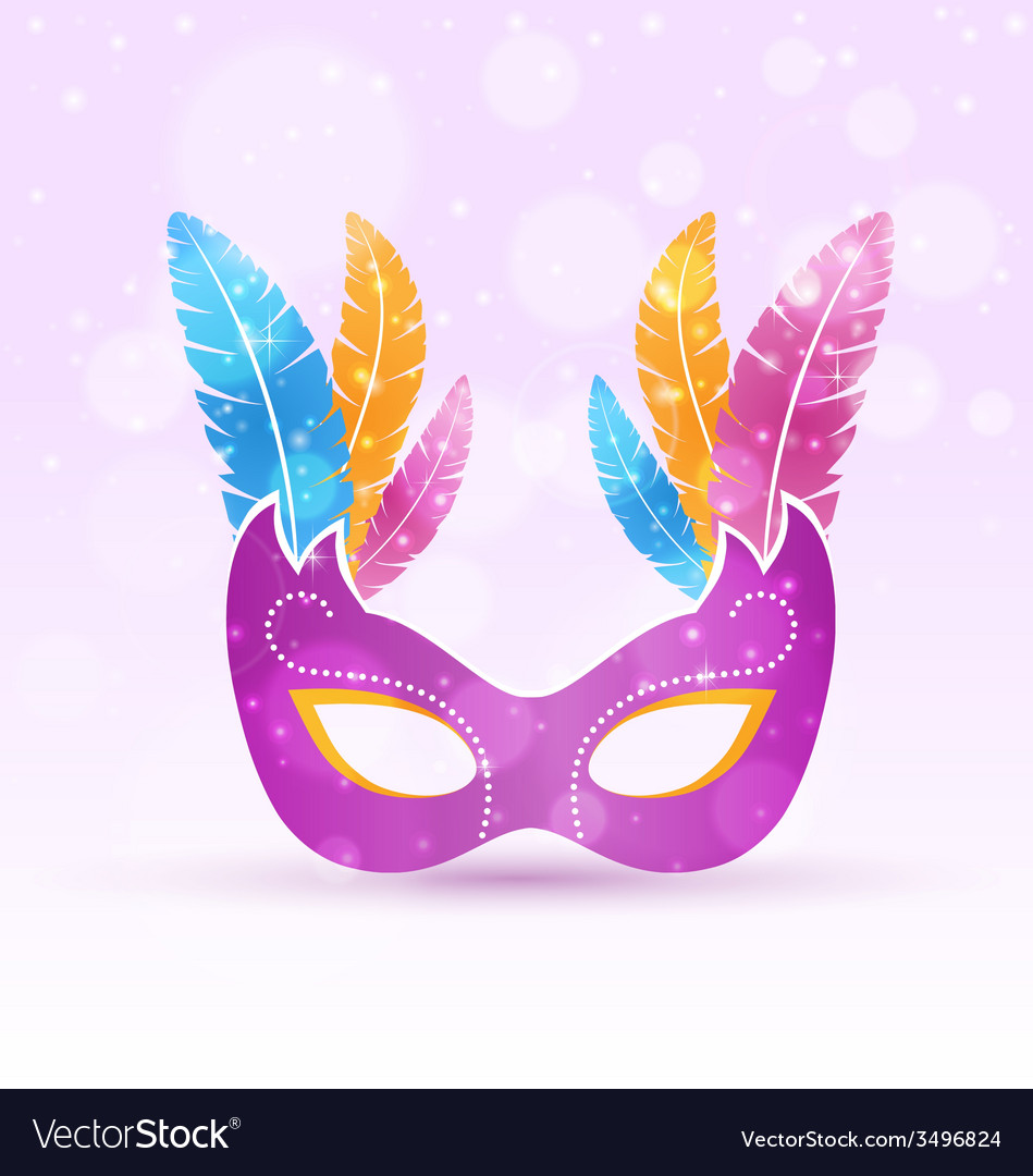 Violet carnival flat mask with multicolored vector | Price: 1 Credit (USD $1)