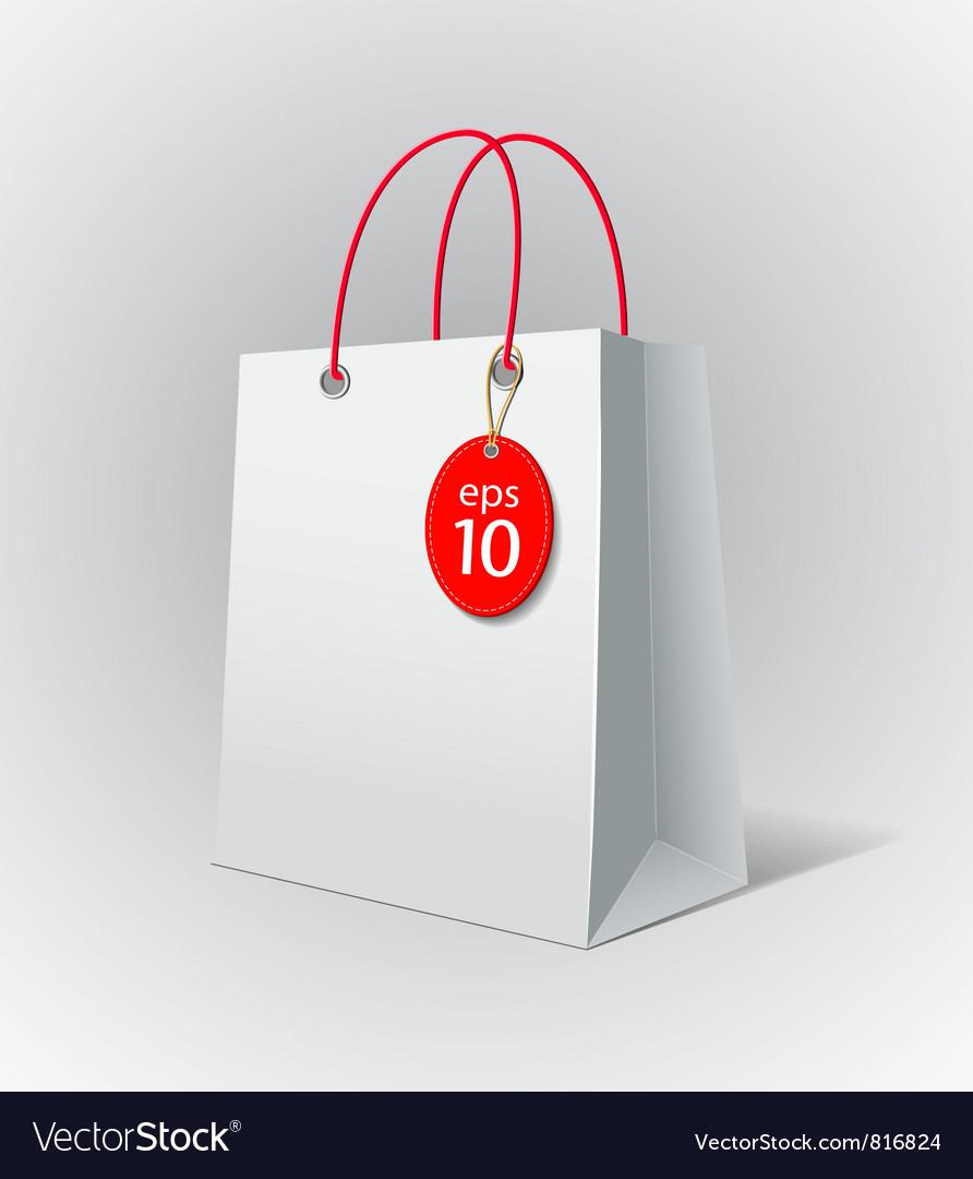 White paper bag vector