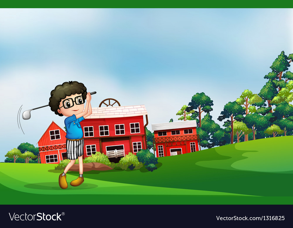 A boy playing golf near the barn vector | Price: 1 Credit (USD $1)