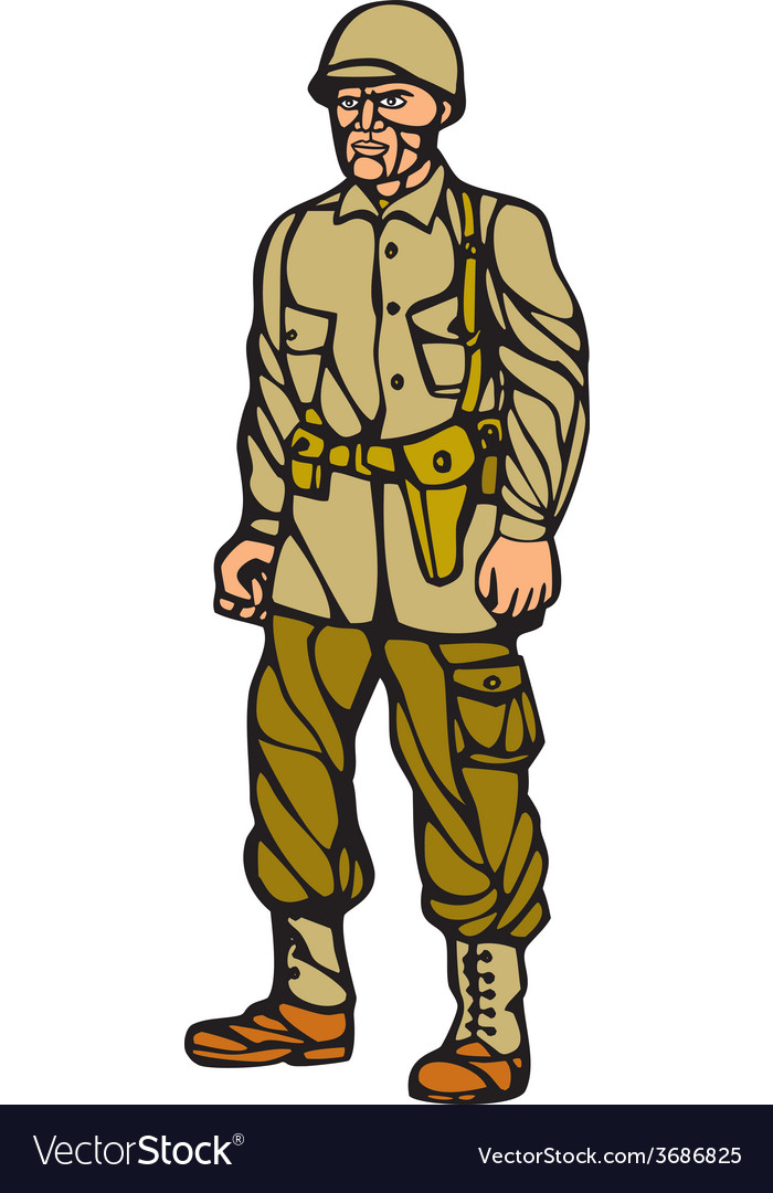 American world war two soldier standing linocut vector | Price: 1 Credit (USD $1)