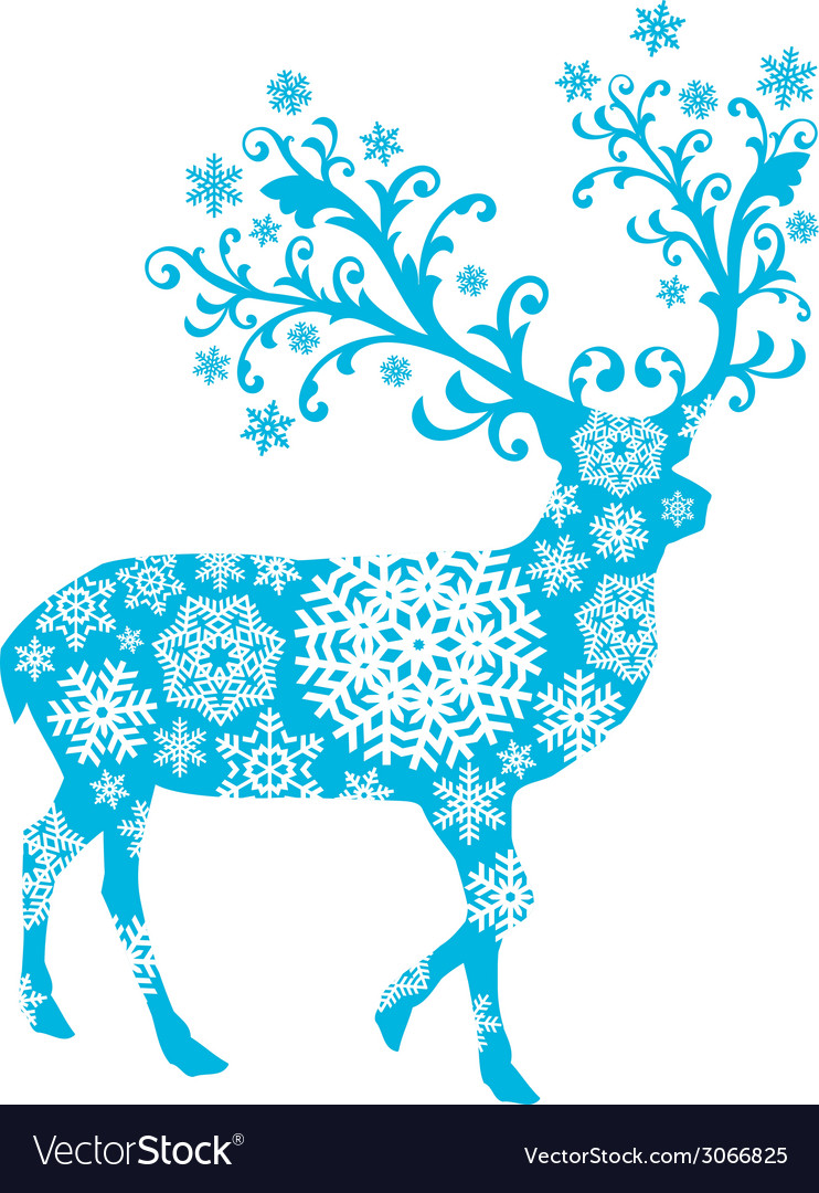 Blue christmas deer vector | Price: 1 Credit (USD $1)