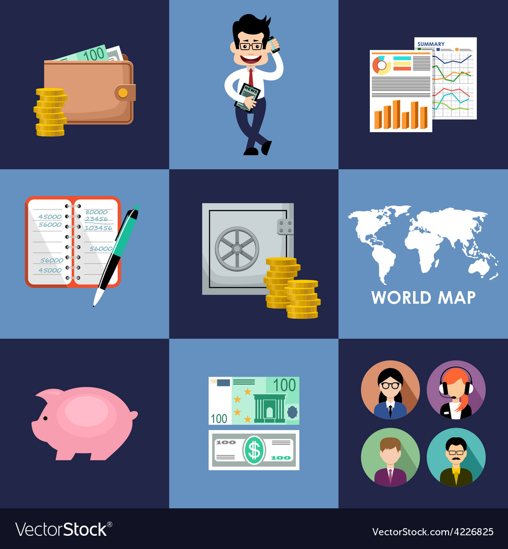 Finance  banking set vector | Price: 1 Credit (USD $1)