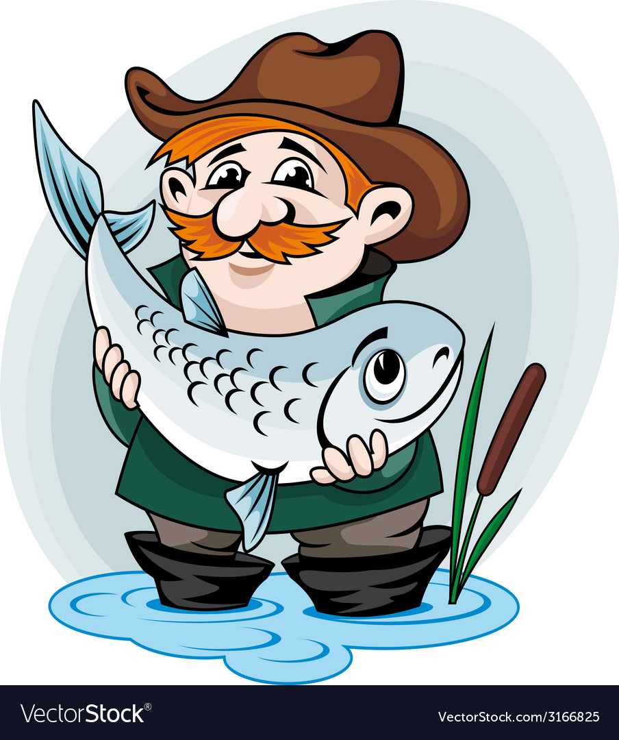 Fisherman catch a fish vector | Price: 1 Credit (USD $1)