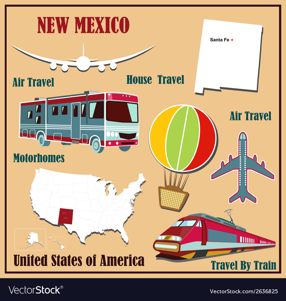 Flat map of new mexico vector | Price: 1 Credit (USD $1)