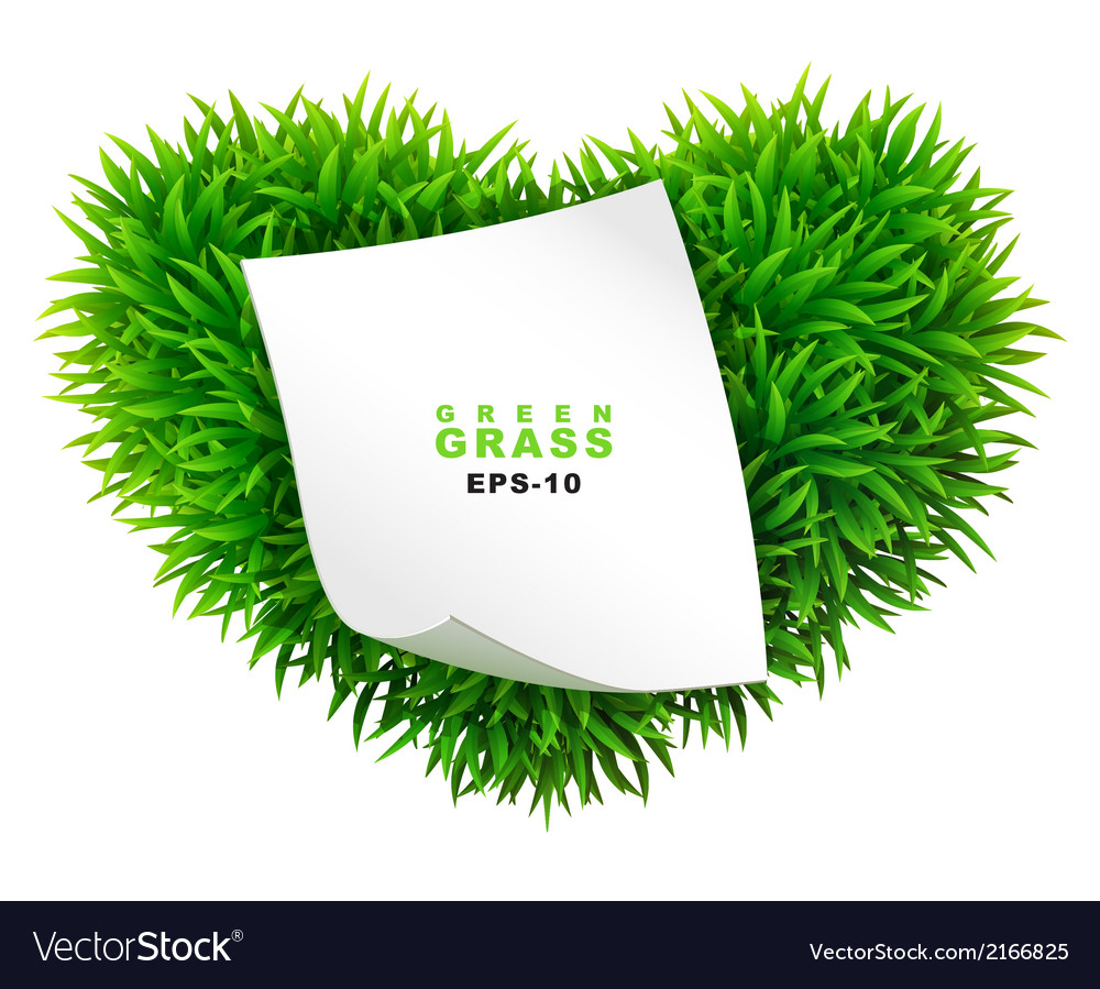 Grassy heart with a clean sheet of paper vector | Price: 1 Credit (USD $1)
