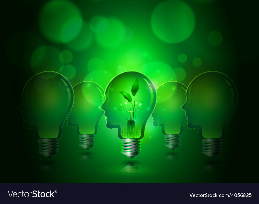 Human head light bulbs save ecology concept vector | Price: 3 Credit (USD $3)