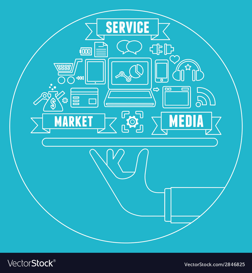 Line concept of media market service vector | Price: 1 Credit (USD $1)